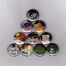 "NU METAL 1"" PINS / BUTTONS w/  KORN SLIPKNOT DEFTONES BIZKIT & MORE! (lp shirt)"