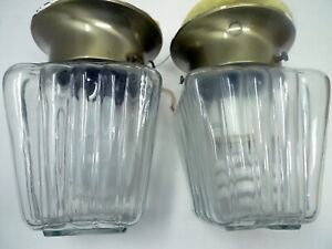 "2 Clear Hallway Heavy Glass Globe Lights Brass 5"" Base 4.5"" Square Ribbed Globes"