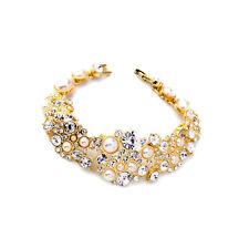 Bracelet Doré  Floral Cristal Perle  Mariage Retro Original CT3