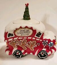 Blue Sky Ceramic Dancing Gingerbread Bakery Car Truck Cookie Jar Goldminc New