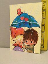 Vtg Valentine Card Big Eyes Children Red Bird Umbrella ABC Switzerland Unused
