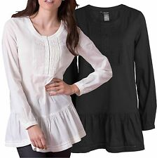 Size UK 10 - 16 Ladies Black or Ivory Long Tunic Top