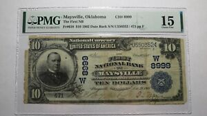 $10 1902 Maysville Oklahoma OK National Currency Bank Note Bill Ch #8999 F15 PMG