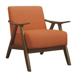 Lexicon Damala Collection Retro Wood Frame Accent Chair Seat, Orange (Open Box)