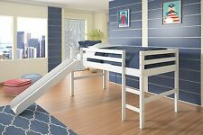 Twin Wood Loft Bed with Slide - White