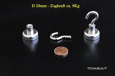 Neodym Magnete piatto con Gancio 20x 16mm 9 kg Magnete forte Foro Magnete