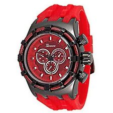 Red Mens Geneva Watch Fashion Designer Oversized Sport Silicone Case