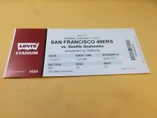 San Francisco 49ers Seattle Seahawks RARE Ticket Stub 1/1/2017 Russel Wilson