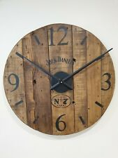 Industrial Wooden Cable Drum Wall Clock, Rustic, Wax Polished Jack Daniels