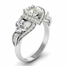 1.65 Ct Unique White Round Two Skull Engagement Wedding Ring 14K White Gold