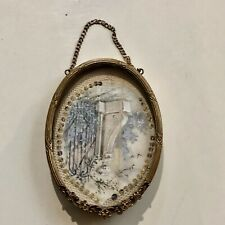 Fine Small Oval Gilt Dore Bronze French Antique Photo Picture Frame Hanging