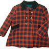 VINTAGE toddler Kute Kiddie Plaid wool Peacoat coat Size 4T 100% Wool Girls Red