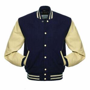 Wool Varsity Letterman BOMBER BASEBALL Jacket -NAVY BLUE, CREAM Leather Sleeves