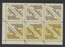 Liberia 4c Bird triangle block of 12 with progressive missing yellow color error