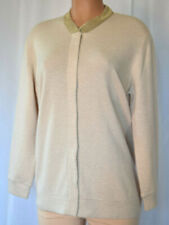BRUNELLO CUCINELLI Beige Cashmere Gold Beaded Neck Line Long Sleeve Cardigan XXL