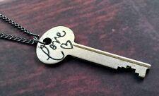 Vintage Love Key Necklace Handmade OOAK