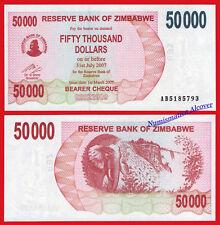 ZIMBABWE 50000 Dollars dolares 2007 Pick 47  SC / UNC