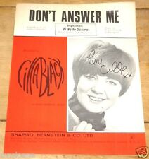 CILLA BLACK ~ DON'T ANSWER ME ~ RARE HAND SIGNED ORIGINAL 1960s SONG MUSIC SHEET