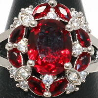 Sparkling 2Ct Oval Ruby Ring Women Wedding Jewelry 14K White Gold Plated