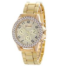 Womens Fashion Geneva Crystal Bracelet Wrist Watch Gold Designer Style