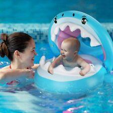 Baby Schwimmring mit Abnehmbarem Sonnendach Hai Schwimmhilfe Schwimmsitz Kinder