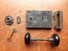 Antique Door Rim or Box Lock & Black Doorknobs Set c1870 Russell & Erwin Rustic