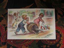 cpa illustrateur signée germaine bouret enfant tonneau chat