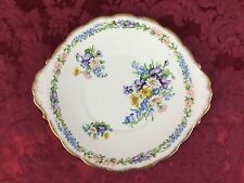 Roslyn Garland Double-Handled Cake Plate Fine Bone China Pink Blue Gold Purple