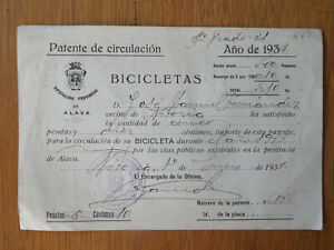 Spanish bicycle licence 1932 Province of Alava, Basque country