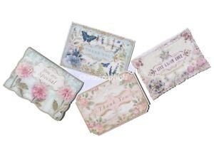 Punch Studio Die-Cut Sm Ephemera Blank Note Cards, Floral Words (14524), 24-ct