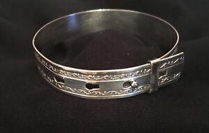 Sterling Silver Buckle Belt Bangle Expanding Decorated Bracelet (B)