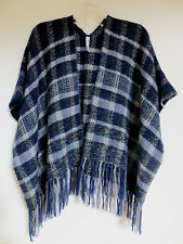 INDIGENOUS Handwoven AlpacaBlend Open Jacket, Poncho, Shawl, Navy/Gray, One Size