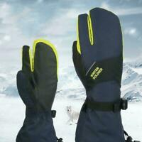 Women Men Waterproof Ski Mittens 3 Finger Warm Winter Snowboard Gloves Moto W4Z0