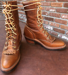 Justin Packer Boot Roper Paddock Leather Logger Lace Up Heel 7.5C narrow/women 9