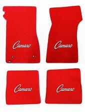 NEW! 1967-1969 Camaro Floor Mats RED Set of 4 Carpet Embroidered Script Logo All