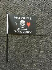 "5x Pirate No Guts No Glory Hand Flags 6x4"" on 10"" / 25cm sticks  pirates kids"