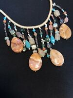 Vintage Signed Chico's Long Stone Cluster Dangle Charm Pendant Necklace WOW!
