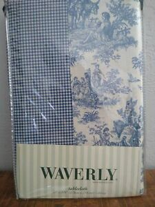 Waverly new in package nip blue 100% cotton TABLECLOTH toile and gingham 70x108