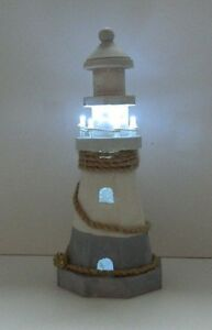 25 CM ORNAMENTAL WOODEN LIGHTHOUSE WITH LED LIGHTS NAUTICAL SHABBY CHIC
