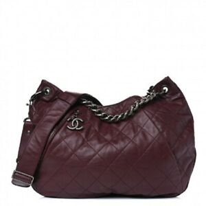 CHANEL Calfskin Coco Pleats Hobo Burgundy Tote Quilted CC Shoulder Bag