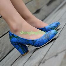 Vintage Womens Girls Block High Heels Slip on Classic Shoes Floral Party Pumps