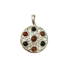 Whitby Jet and Baltic Amber In 925 Sterling Silver Pendant Flower Design