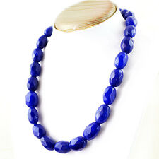 631.00 Cts Earth Mined Blue Sapphire Oval Shape Faceted Beads Hand Made Necklace