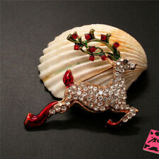 Elk Crystal Charm Brooch Pin Gifts Betsey Johnson Bling Cute Color Christmas