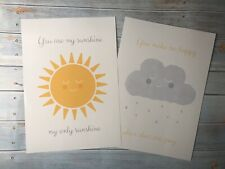 A4 Print Set Of 2 You Are My Sunshine Quote Baby Nursery Wall Decor Bedroom Kids