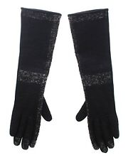 NWT $400 DOLCE & GABBANA Black Lambskin Leather Wool Elbow Gloves Silk s. 8 / M