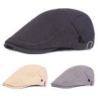 Men Classic Berets Driving Golf Cap Solid Color Adjustable Casual Newsboy Hat