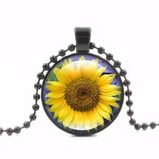 UK SUNFLOWER PENDANT NECKLACE Jewellery Gift Idea Flower Floral Boho Gypsy Beach