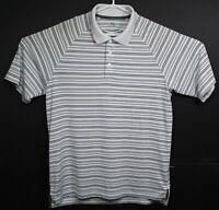 Under Armour Mens Gray Stripes Heat Gear Short Sleeve Golf Polo Shirt Med EUC
