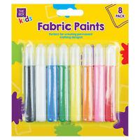 8 PACK FABRIC PAINTS PENS PERMANENT T-SHIRT CLOTHES DESIGN CHILDRENS KIDS PARTY